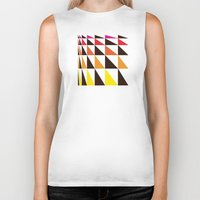 yellow pattern Biker Tanks featuring Red Yellow Triangle Pattern by Gary Andrew Clarke