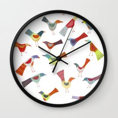Birds doing bird things Wall Clock