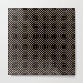 Black and Otter Polka Dots Metal Print