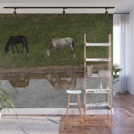 Grazing Horses by the River Wall Mural