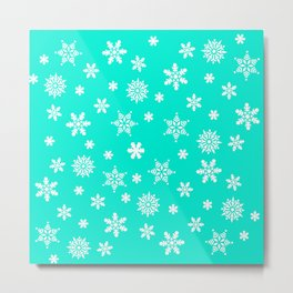 Snow Flurries-Frosty Blue Metal Print