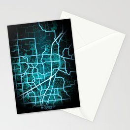 McKinney, TX, USA, Blue, White, Neon, Glow, City, Map Stationery Cards