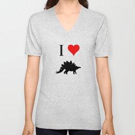 I Love Dinosaurs - Stegosaurus Unisex V-Neck