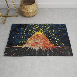 Erupting volcano Rug