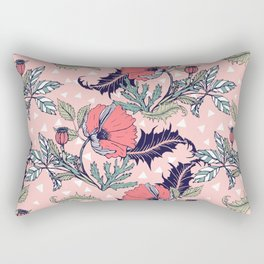Pink bloom of poppies Rectangular Pillow