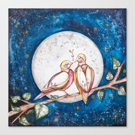 Doves and the Full Moon Canvas Print