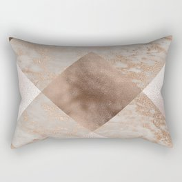 Copper and Blush Rose Gold Marble Gingham Rectangular Pillow