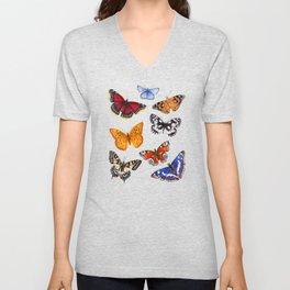 Butterflies On Black Unisex V-Neck