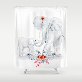Mother's Day (Mother and Baby Elephants) Shower Curtain