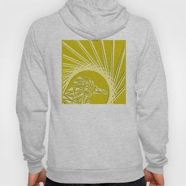 Bright abstract peach bird on a lemon background in the nest. Hoody
