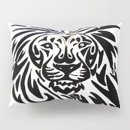 Lion face black and white Pillow Sham