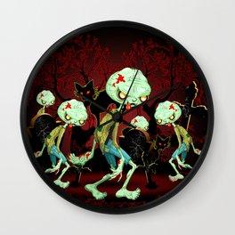 Zombie Creepy Monster Cartoon on Cemetery Wall Clock