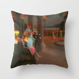 Classical Masterpiece 'Evening on the Terrace' by Delphin Enjolras Throw Pillow