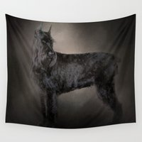 schnauzer Wall Tapestries featuring The Giant Black Schnauzer by Jai Johnson