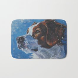Brittany Spaniel dog art portrait from an original painting by L.A.Shepard Bath Mat