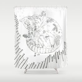 cat and piano Shower Curtain