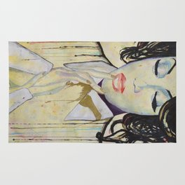 Colourful dripping ink portrait Rug