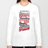 movie posters Long Sleeve T-shirts featuring B Movie Beware by ochre7