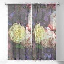 Shabby Chic Flowers Pattern Sheer Curtain