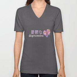 Depressive - Creepy Cute Japanese Anime T-Shirt Unisex V-Neck