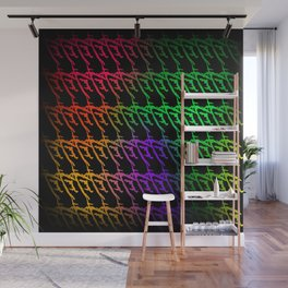 Interweaving pattern of neon squiggles and red ropes on a black background. Wall Mural
