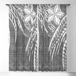 Vintage Samoan Tapa print Sheer Curtain
