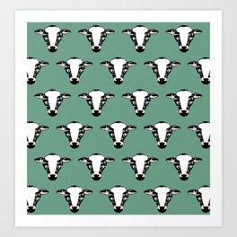 Cute Cow Face pattern Art Print