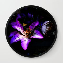Lilies on Shrooms Wall Clock