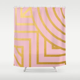 Line Art Pattern in Gold Shower Curtain