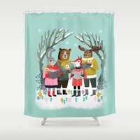 Woodland Christmas Carols by Andrea Lauren  Shower Curtain