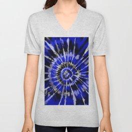 Dark Blue Tie Dye Unisex V-Neck