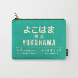 Vintage Japan Train Station Sign - Yokohama Kanagawa Green Carry-All Pouch