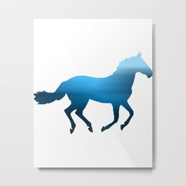 Horse - Running - Blue Metal Print