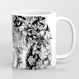 floral animals -black and white wolf Coffee Mug