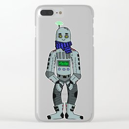 Hipster Bot Clear iPhone Case