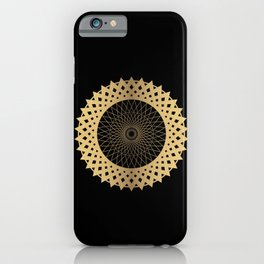 DIGRESS simple edgy gold disc on black background iPhone Case