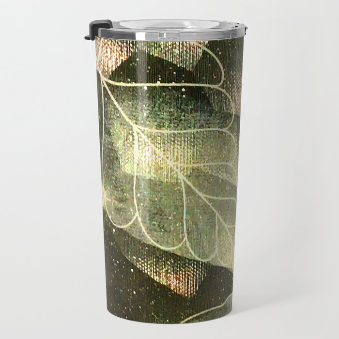 Transparent Abstract Leaves in Magical Green Hues Travel Mug