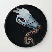 all seeing eye Wall Clocks featuring All seeing eye II. by Daniela Samcova Collage