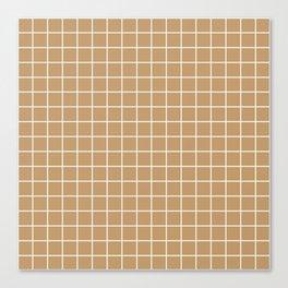 Wood brown - brown color - White Lines Grid Pattern Canvas Print