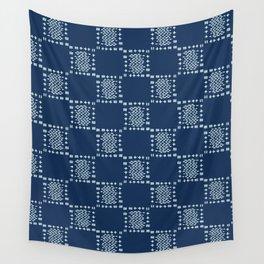 Square Motif Sashiko Style Japanese Needlework Wall Tapestry