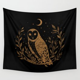 Owl Moon - Gold Wall Tapestry