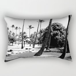 palm tree with cloudy sky in black and white Rectangular Pillow