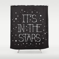 constellations Shower Curtains featuring Constellations  by Estaschia Cossadianos