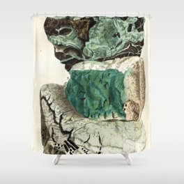 Vintage Mineralogy Illustration Shower Curtain