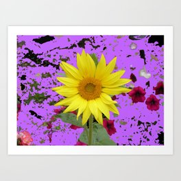 Sunflower with Purple Abstract Art Print