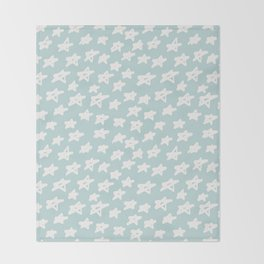 Stars on mint background Throw Blanket