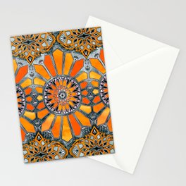 Celebrating the 70's - tangerine orange watercolor on grey Stationery Cards