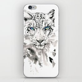 Watercolor leopard with blue eyes print iPhone Skin
