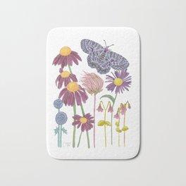 Spring Awakening - Purple Butterfly and Wildflowers Bath Mat