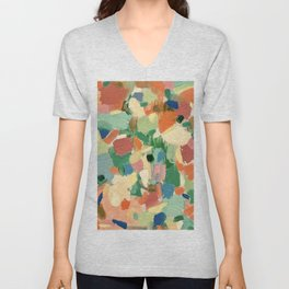 Coral: abstract modern art colorful oil painting Unisex V-Neck
